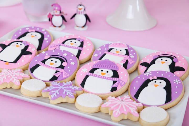 magníficas galletas decoración temática pingüinos