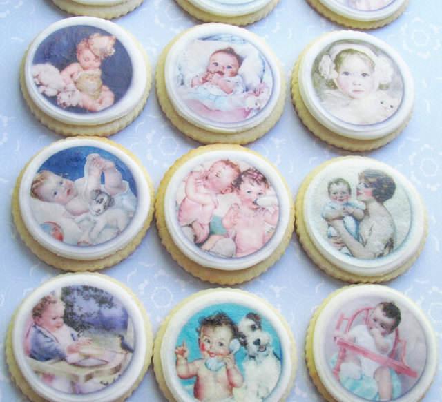 galletas estilo vintage recuerdos para baby shower