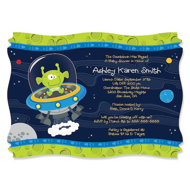 invitación para baby shower temático cosmos