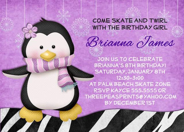 invitación temática fiestas infantiles muchacha pingüino