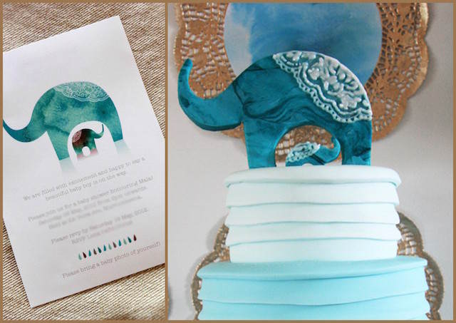 invitaciones de baby shower estilo marroquí elefante