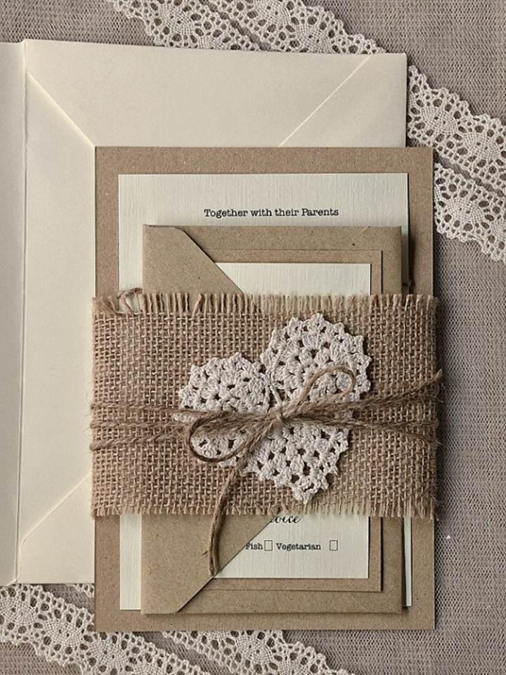 invitaciones de boda color moderno almendra tostada tendencias 2015