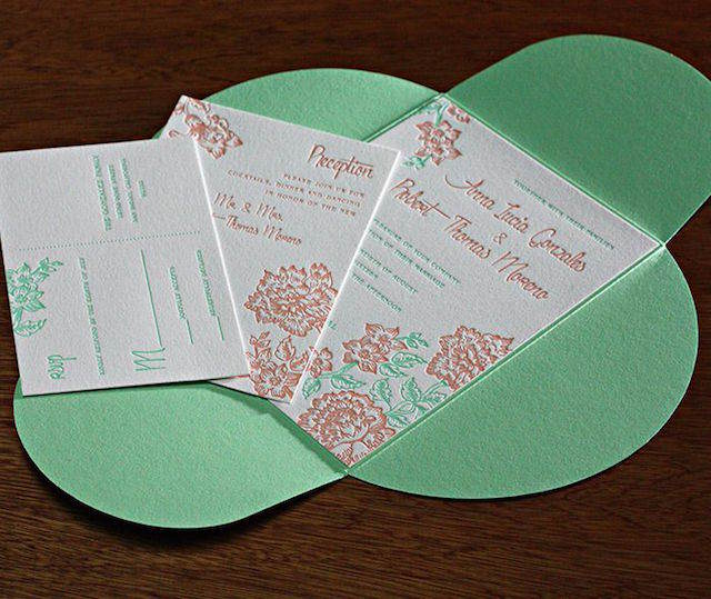 invitaciones de boda verde lucite