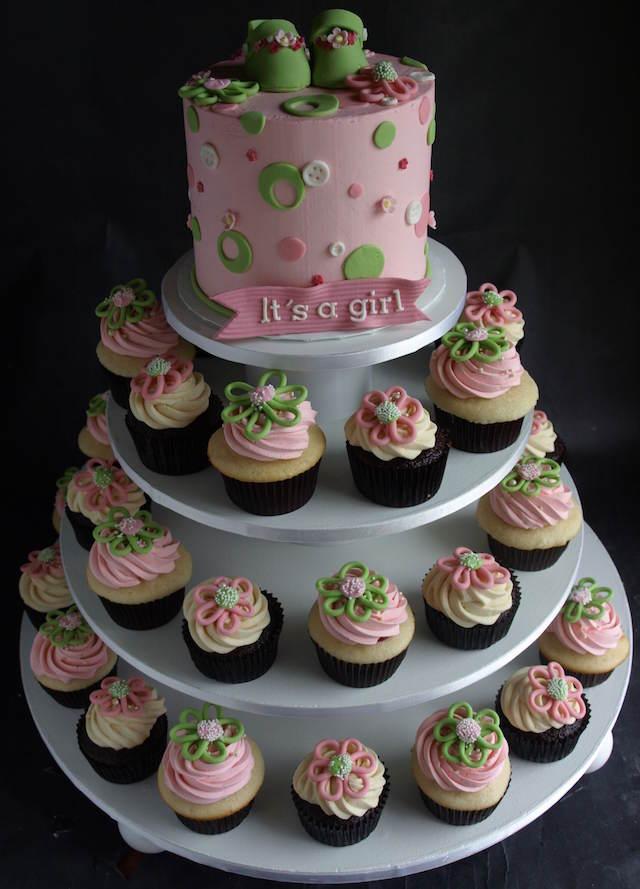magdalenas combinación pasteles para baby shower niña