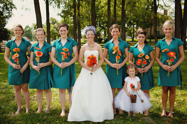 mandarina mezcla azul scuba boda moderna 2015