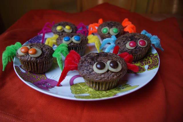 muffins decoradas como arañas fiesta