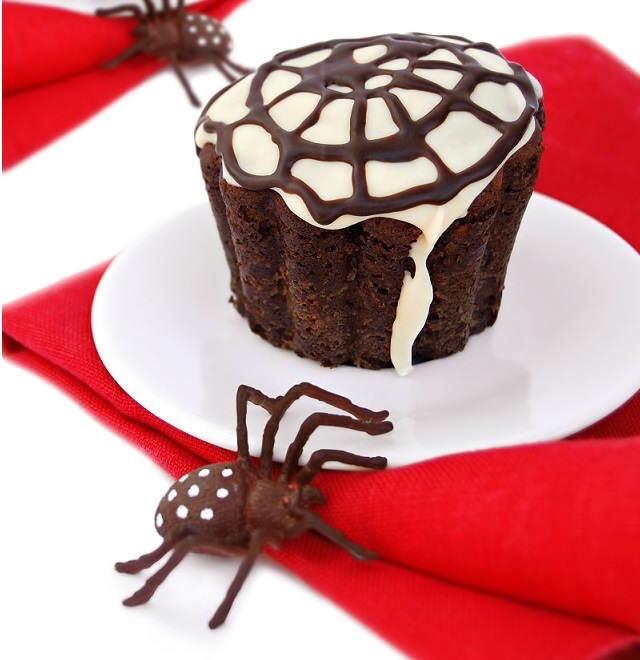 muffins temáticos fiesta Halloween arañas telaraña
