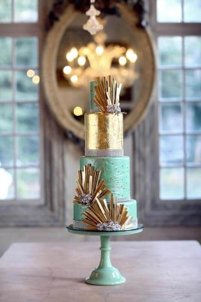 pastel de boda color verde lucite 2015