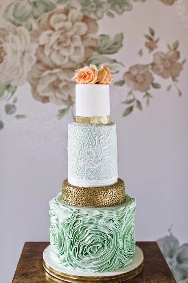 pastel de boda verde lucite moda 2015