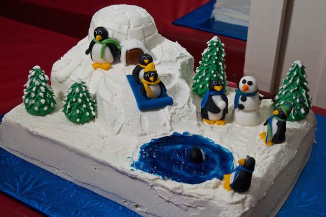 pastel temático para fiestas infantiles pingüino