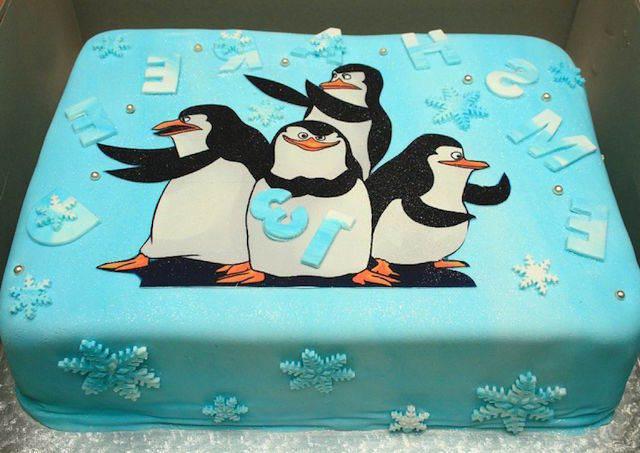 pastel para fiestas infantiles tema Pingüinos Madagascar
