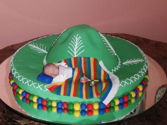 pastel temático México adornos para baby shower