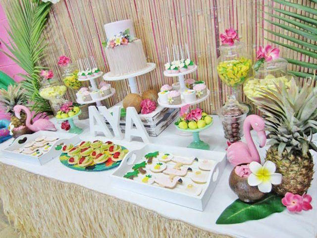 pintada decoracin hawaiana ideas para baby shower nia