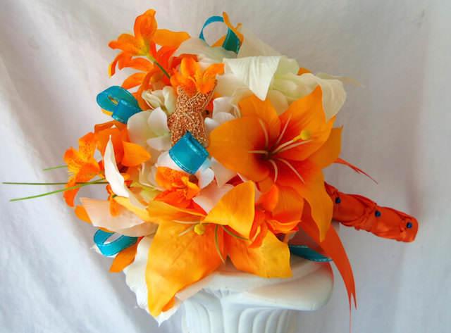 ramo de flores moda 2015 mandarina azul scuba