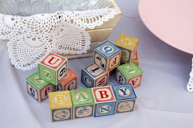 recuerdos para baby shower vintage bloques juego