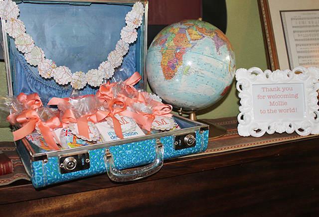 temáticos recuerdos para bautizo maleta viaje