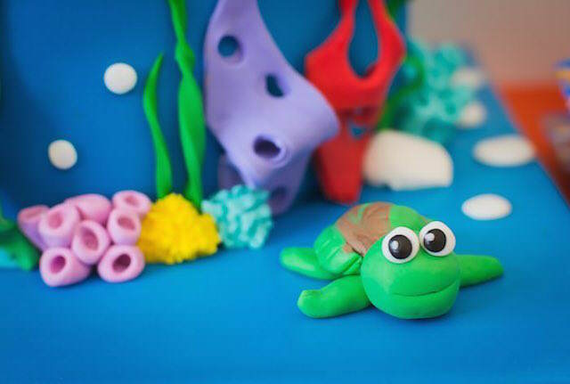 pequeña tortuga decoración temática bajo mar