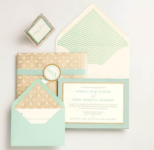 verde lucite dorado invitaciones de boda