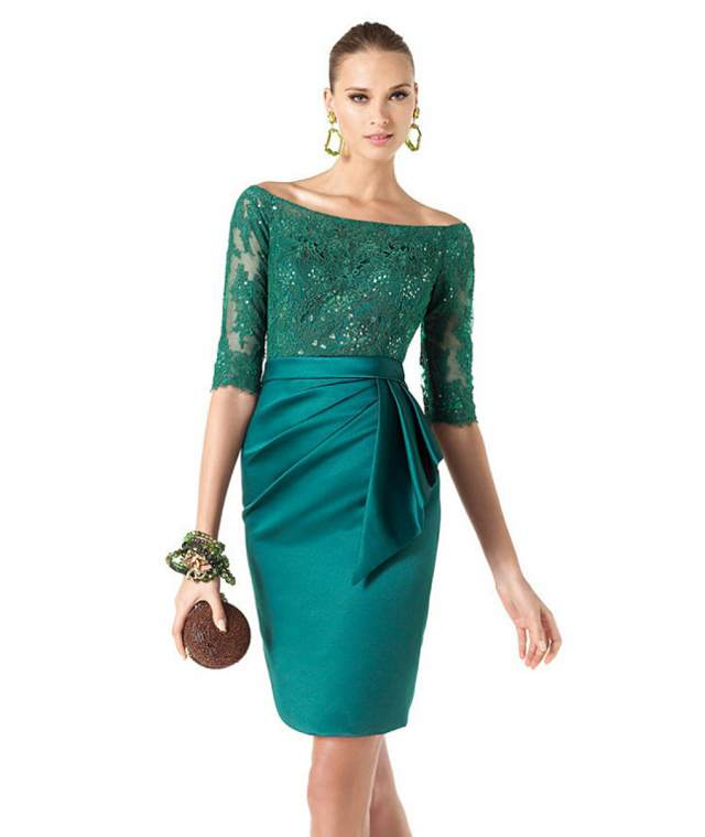 vestido elegante color verde madrina bautizo ideas modernas