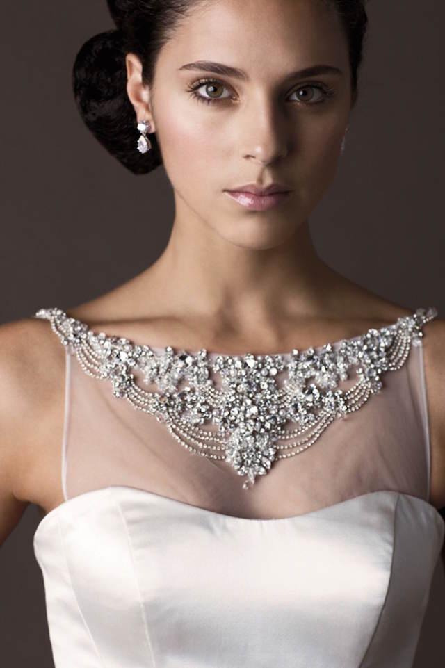 vestidos de novia tendencias 2015 escote joya