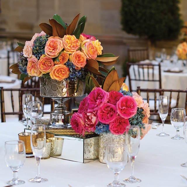 vintage centros de mesa para boda colores llamativos
