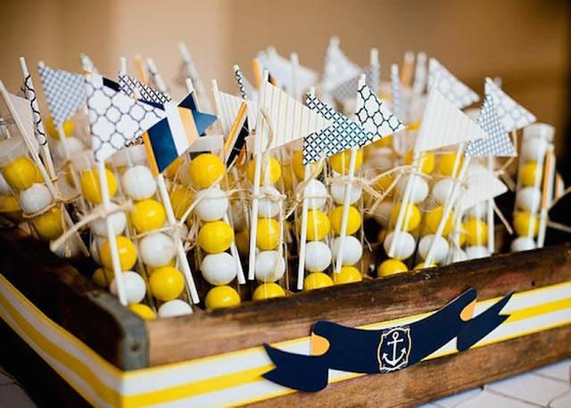 bautizo náutico colores azul amarillo souvenirs