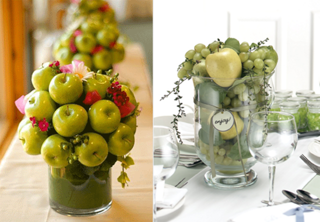 decoración boda frutas arreglos preciosos