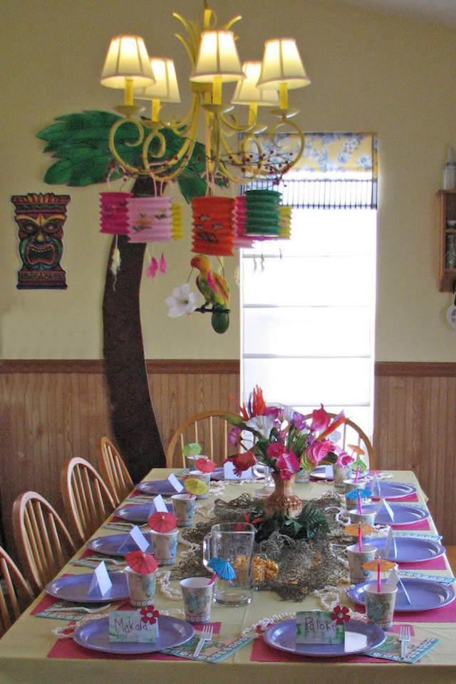 decoración pintada feliz cumpleaños tema aves exóticas