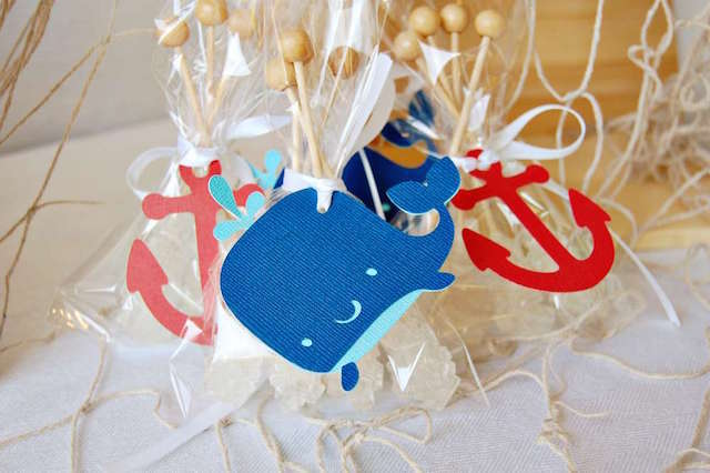 fantástica decoración náutica recuerdos para baby shower