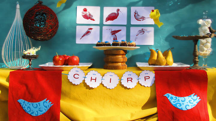 fantástica decoración feliz cumpleaños pájaros