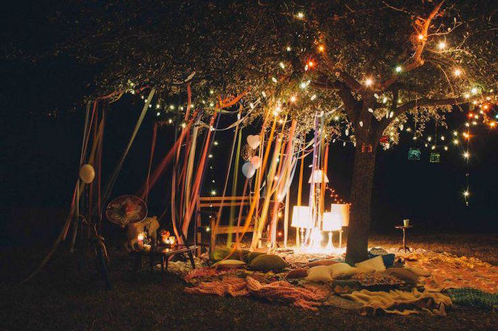 mágica decoración estilo boho chic feliz cumpleaños iluminación