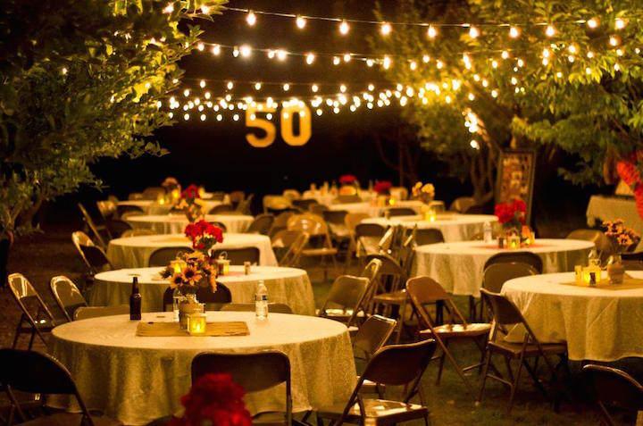 magnífica decoración aniversario 50 años globos