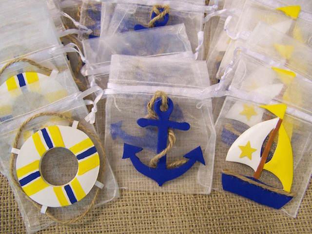 tema náutico azul amarillo recuerdos para baby shower