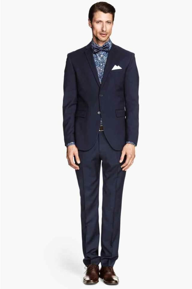 traje azul camisa estampada ideas boda 2015