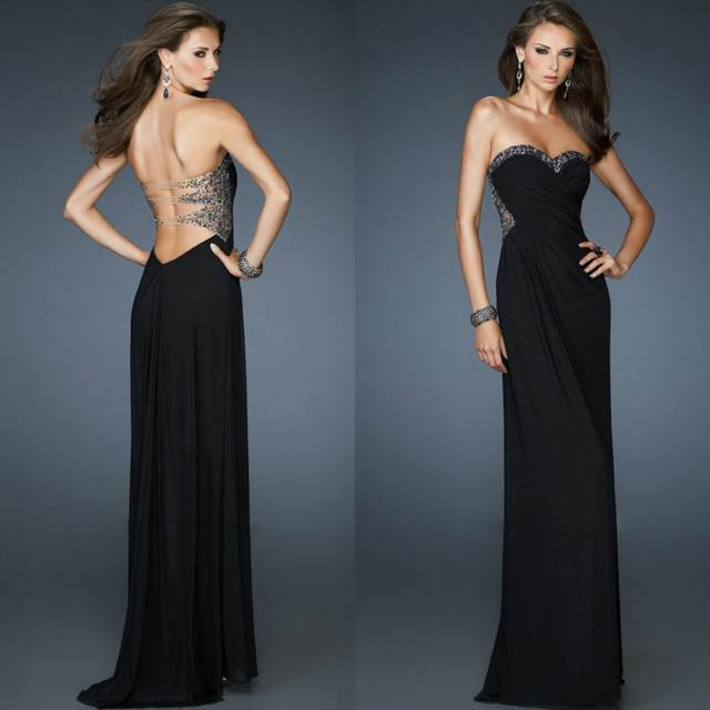 vestidos de noche color negro modelos elegantes maravillosos