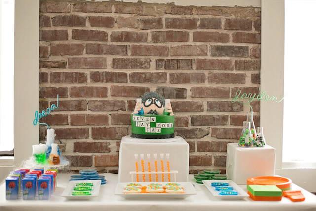 decoración de fiestas infantiles tema ciencia