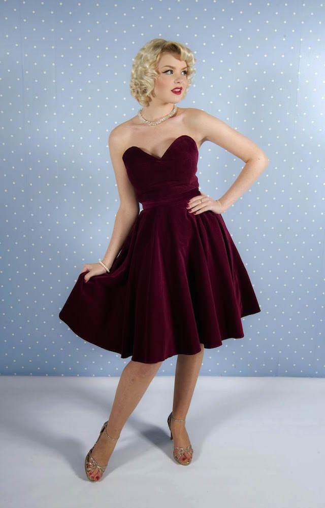 estilo vintage moda 2015 vestido marsala