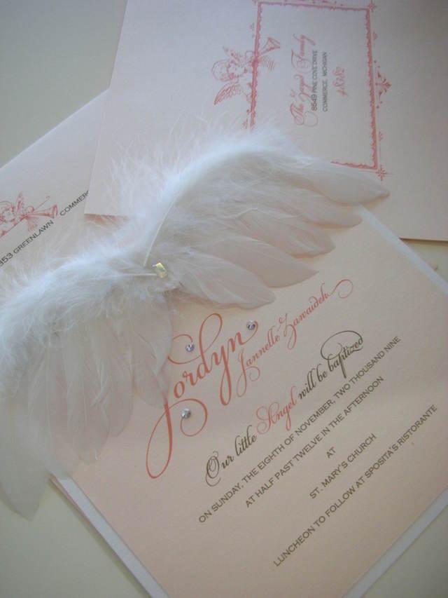 magnífica invitación baby shower tema ángeles