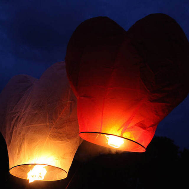 globos de cantoya forma corazón romántica noviazgo