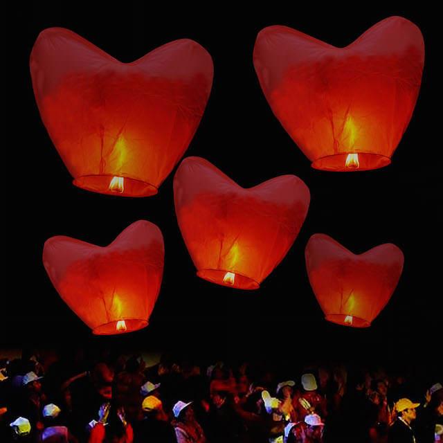 globos de cantoya forma corazón despedida soltera