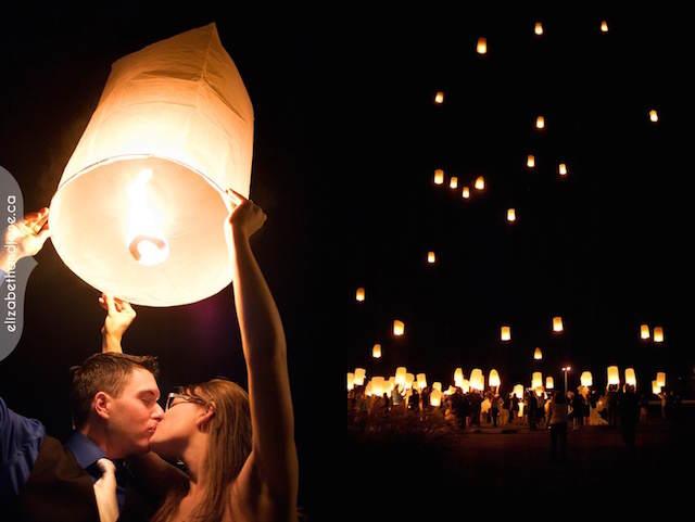 globos de luz celebración fiesta amor romántica