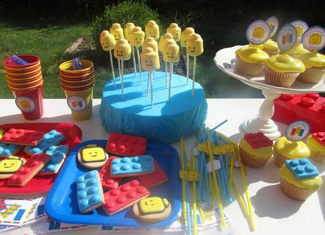 decoración de fiestas infantiles mesa decorada tema lego ideas fantásticas