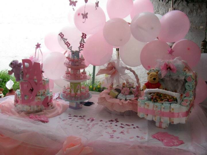 arreglos con globos ideas color rosa decoración bautizo