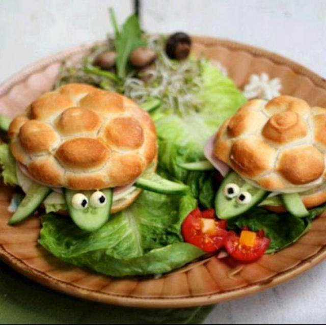 banquetes bocadillos forma interesante tortugas fantásticas