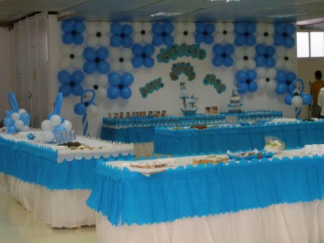 bautizo fiesta temática decoración original color azul globos