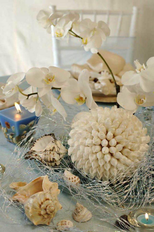 centro de mesa orquídeas elementos océano