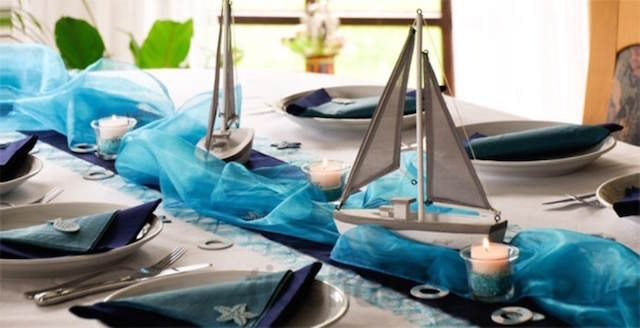 centro de mesa tema oceano