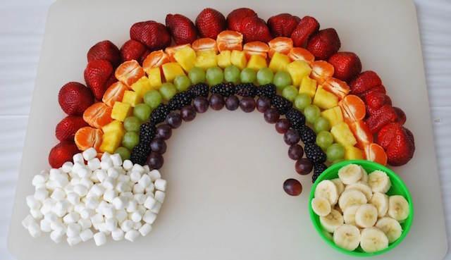 decoración arco iris frutas banquetes fenomenales