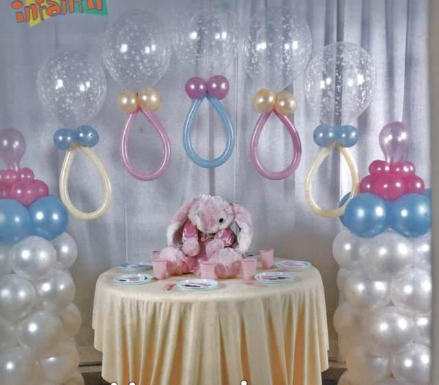 arreglos con globos decoración fantástica bautizo