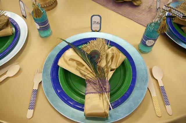 magnífica decoración de mesa tema Egipto